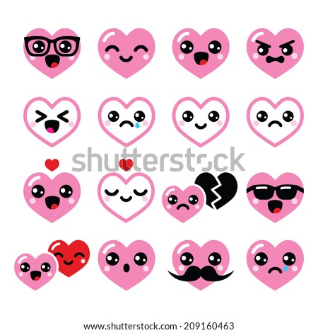 Kawaii Hearts, Valentineu0027s Day Cute Vector Icons Set