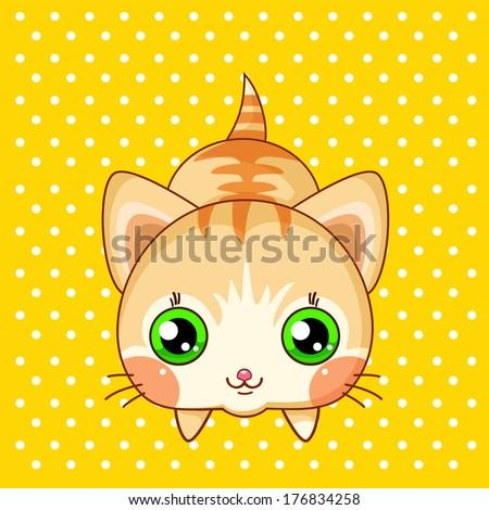 Kawaii lying little cat  - stock vector