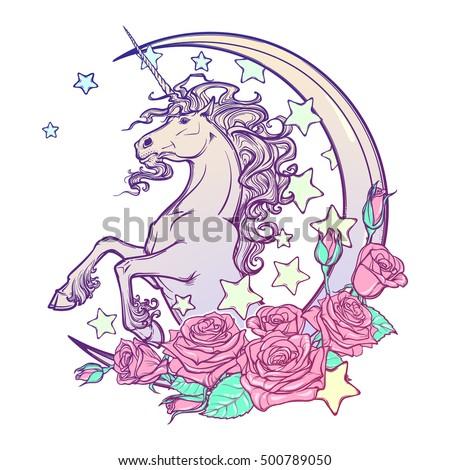 Kawaii Night Sky Composition With Unicorn Roses Stars And Moon
