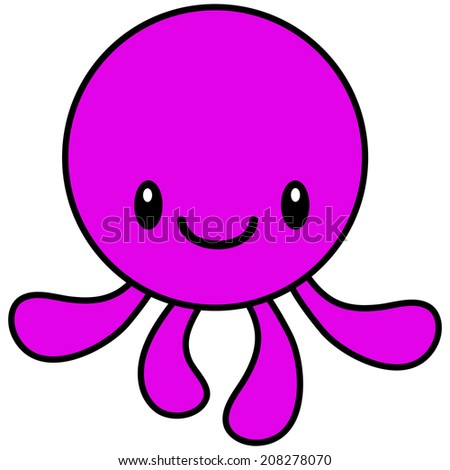 Kawaii Octopus - stock vector