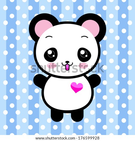 Kawaii panda toy - stock vector
