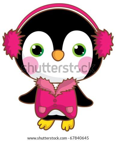 Kawaii penguin. - stock vector