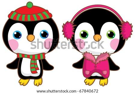 Kawaii penguins. - stock vector