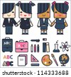 Kawaii school vector set of schoolgirls and schoolboys with education icons, isolated - stock