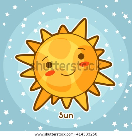 Kawaii space card. Doodle with pretty facial expression. Illustration of cartoon sun in starry sky. - stock vector
