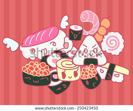 Kawaii sushi set doodle background - stock vector