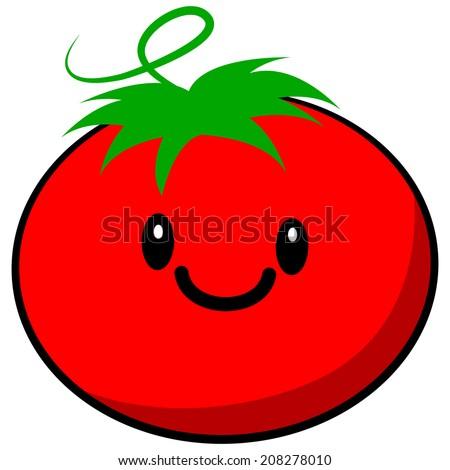 Kawaii Tomato - stock vector