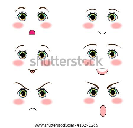 Anime Manga Eyes Funny Icon Set For Smiles Faces