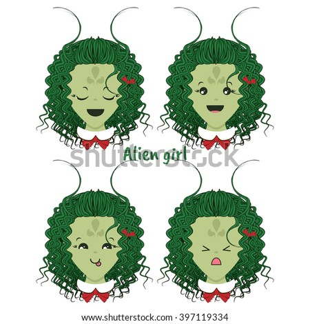 Kawaii vector icon set. Curly alien girl with different funny, cute emotions, smiles. Happy, angry, grumpy, sly, sweet face, ponytails. Isolated on white background - stock vector