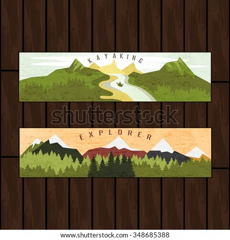 Kayaking holidays forest landscape with mountain peaks and two horizontal banners set on wooden background - stock vector