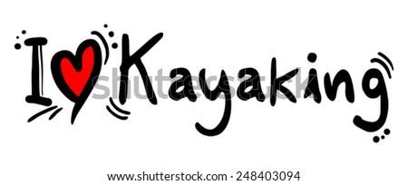 Kayaking love - stock vector