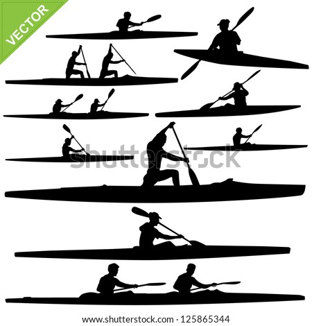 Kayaking silhouettes vector - stock vector