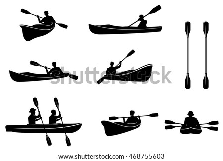 Kayaking silhouettes vector. Canoe trails and rafting club emblem with kayaking equipment elements.