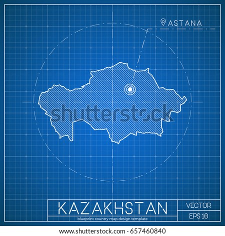 Kazakhstan blueprint map template capital city stock vector kazakhstan blueprint map template with capital city astana marked on blueprint kazakhstani map vector malvernweather Gallery