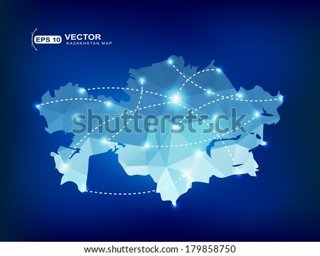 Kazakhstan country map polygonal with spot lights places - stock vector