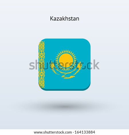Kazakhstan flag icon. Vector illustration. - stock vector