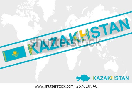 Kazakhstan map flag and text illustration, on world map - stock vector