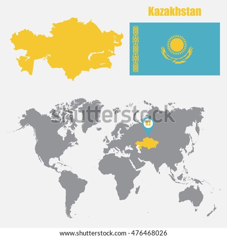 Kazakhstan map on world map flag stock vector 476468026 shutterstock kazakhstan map on a world map with flag and map pointer vector illustration gumiabroncs Images