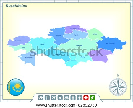 Kazakhstan Map with Flag Buttons and Assistance & Activates Icons Original Illustration - stock vector