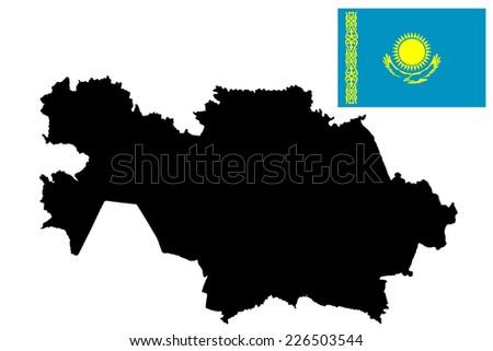 Kazakhstan vector map and vector flag high detailed silhouette illustration isolated on white background. - stock vector