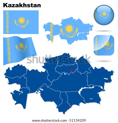 Kazakhstan vector set. Detailed country shape with region borders, flags and icons isolated on white background. - stock vector