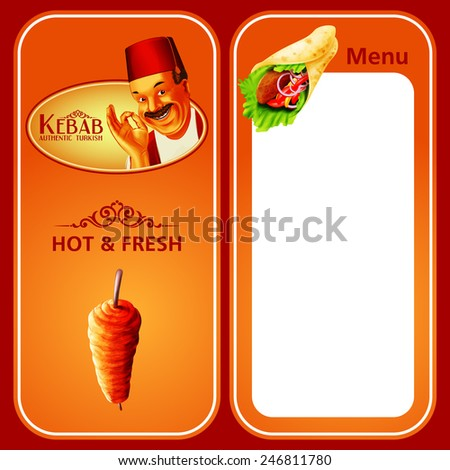 KEBAB MENU HOT & FRESH - stock vector