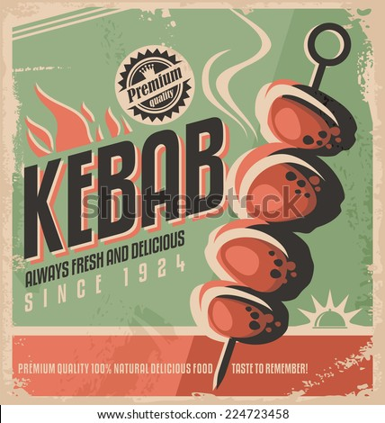 Kebab retro poster design concept. Promotional ad design for grilled food on old paper texture. - stock vector