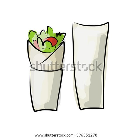 Kebab with pita bread, fast food. sketch design - stock vector