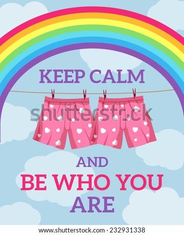 keep calm illustration. blue sky and rainbow background - stock vector
