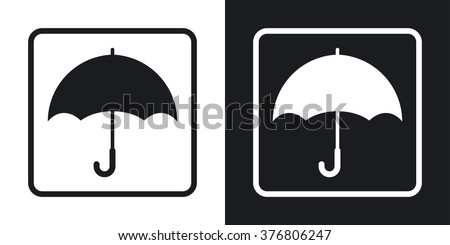Keep dry packaging symbol. Two-tone version on black and white background