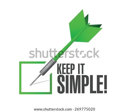 keep it simple check dart sign illustration design over white - stock vector