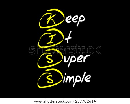 Keep It Super Simple (KISS), business concept acronym - stock vector