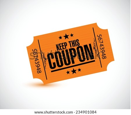keep this coupon. orange ticket illustration design over a white background - stock vector