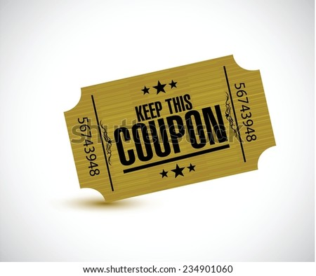 keep this coupon. yellow ticket illustration design over a white background - stock vector