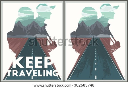 Keep traveling illustration with double exposure effect. - stock vector