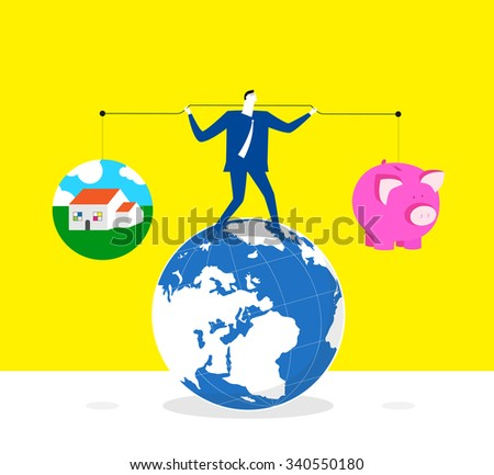 Keeping balance between life and quality-A businessman lifts up lever,one side is a piggy bank and the other is a house. he keeps balance and stands on a earth.  - stock vector