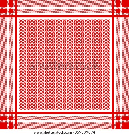 Keffiyeh vector seamless pattern with floral print. Traditional Middle Eastern man headdress. Shemagh military textile collection. Red and white. Backgrounds & textures shop. - stock vector