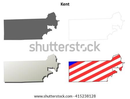 Kent County, Rhode Island blank outline map set - stock vector