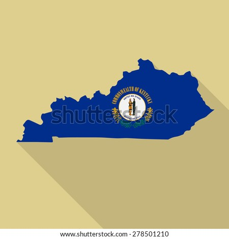 Kentucky flag,map flat icon with long shadow. Vector EPS10