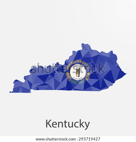 Kentucky flag map in geometric,mosaic polygonal style.Abstract tessellation,background. Low poly vector illustration EPS10