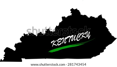 Kentucky map vector in black and white background, Kentucky map outlines in a new design - stock vector
