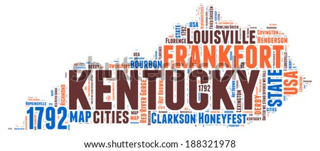 Kentucky USA state map vector tag cloud illustration - stock vector