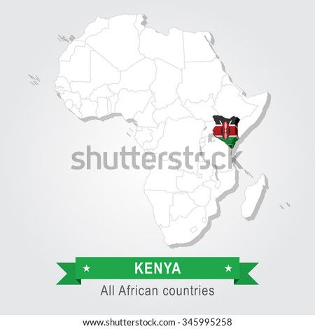 Kenya. All the countries of Africa. Flag version. - stock vector