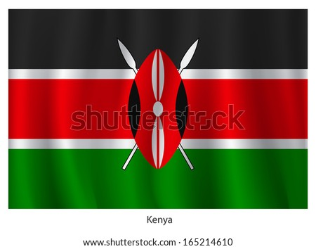 Kenya flag with title, vector illustration - stock vector