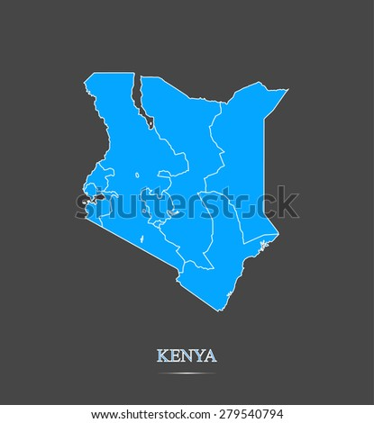 Kenya map outlines in highlighted grey background, vector map of Kenya in contrasted design for brochure template, tourist map, advertisement, web page design, science and education uses - stock vector