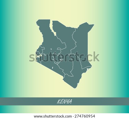 Kenya map outlines on an abstract background, vector map of Kenya on an old paper background - stock vector