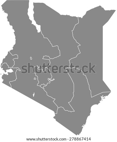 Kenya map outlines, vector map of Kenya with boundaries/  borders of counties or states or provinces in grey color background - stock vector