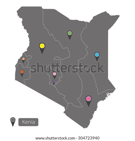 Kenya map with regions on white background - stock vector