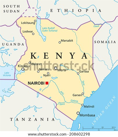 Kenya Political Map - Political map of Kenya with capital Nairobi, national borders, most important cities, rivers and lakes. Vector illustration with English labeling and scaling. - stock vector