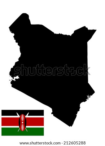 Kenya vector map and vector flag high detailed illustration, isolated on white background. - stock vector